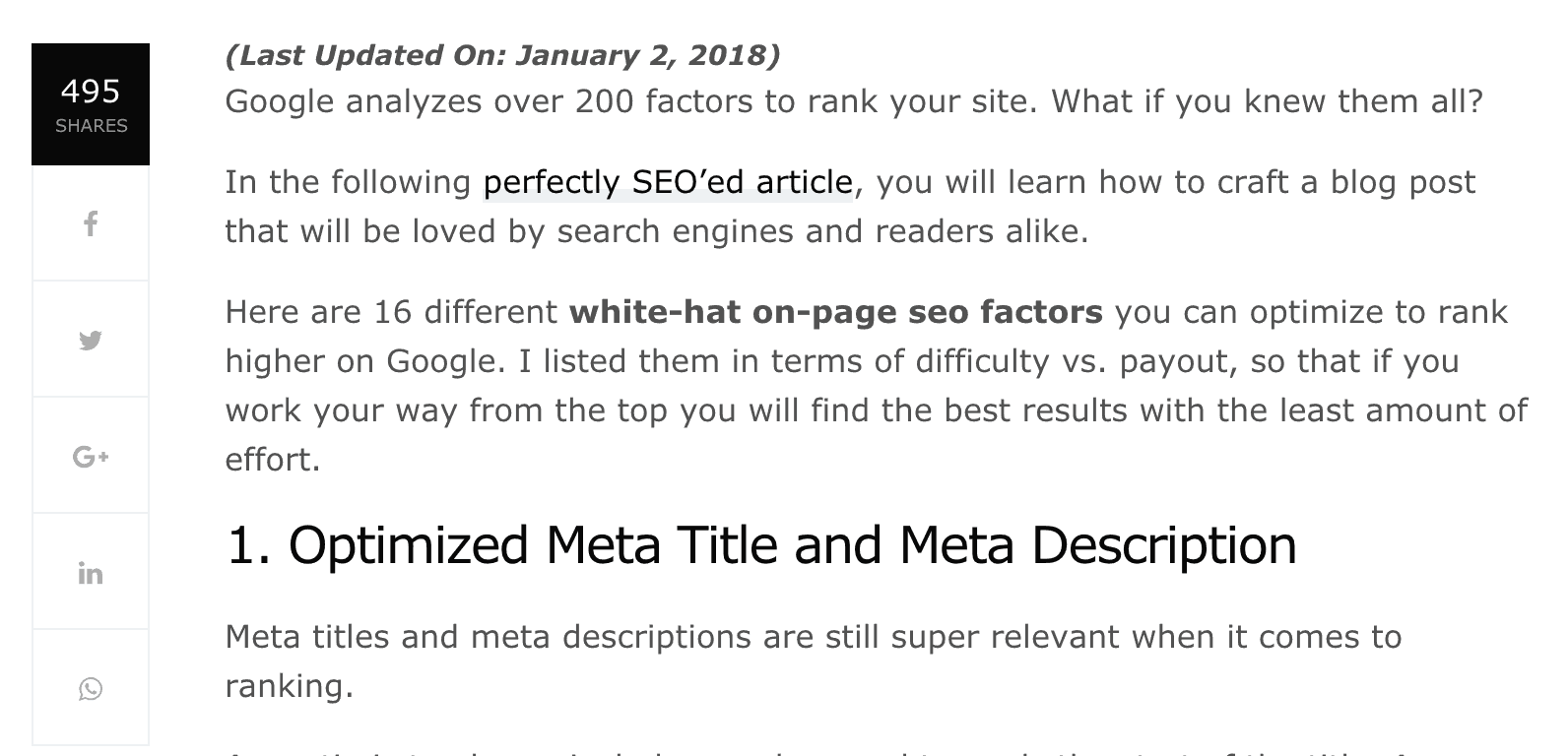 sharing buttons on page seo