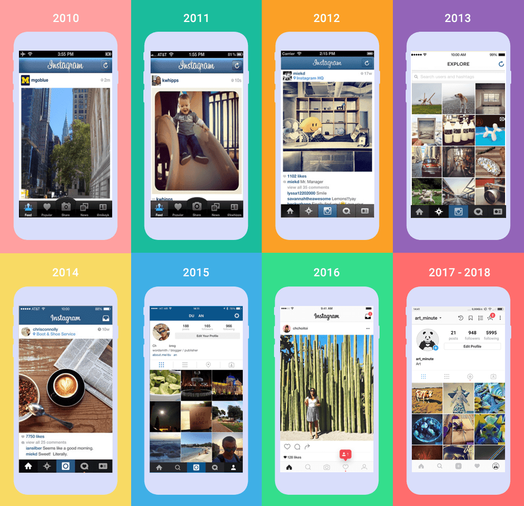 instagram design over the years