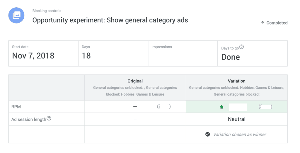 google adsense experiment optimization
