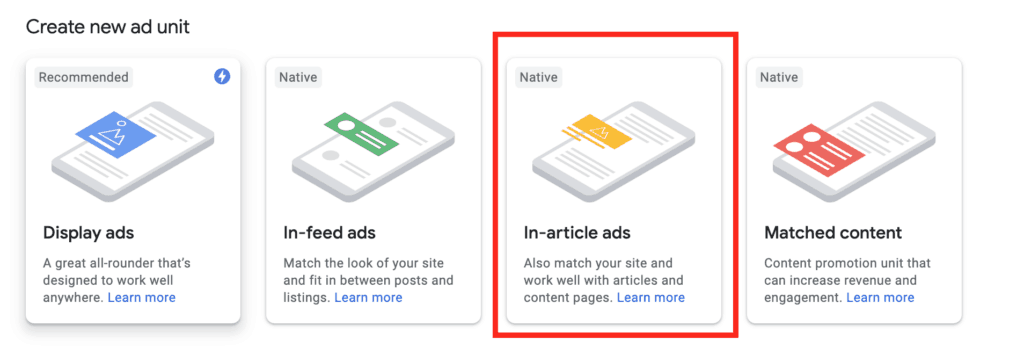 native in article ads new google adsense