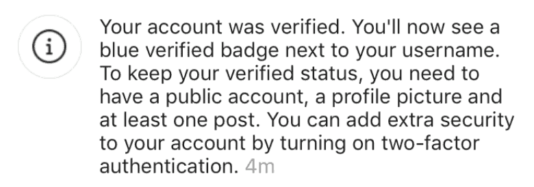 instagram succesful verification
